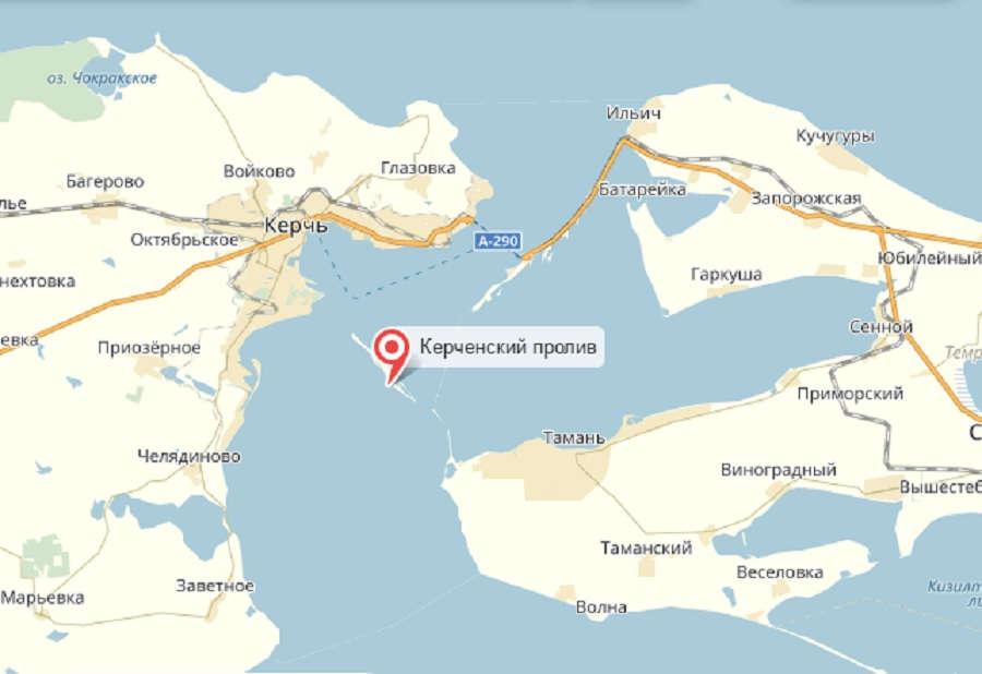 Керченский пролив на карте
