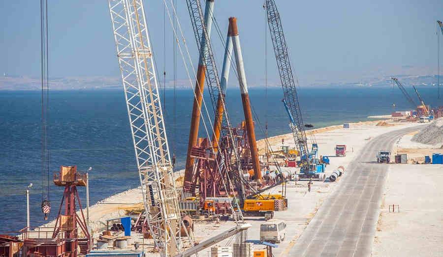 Строительство моста через Керченский пролив сегодня: видео