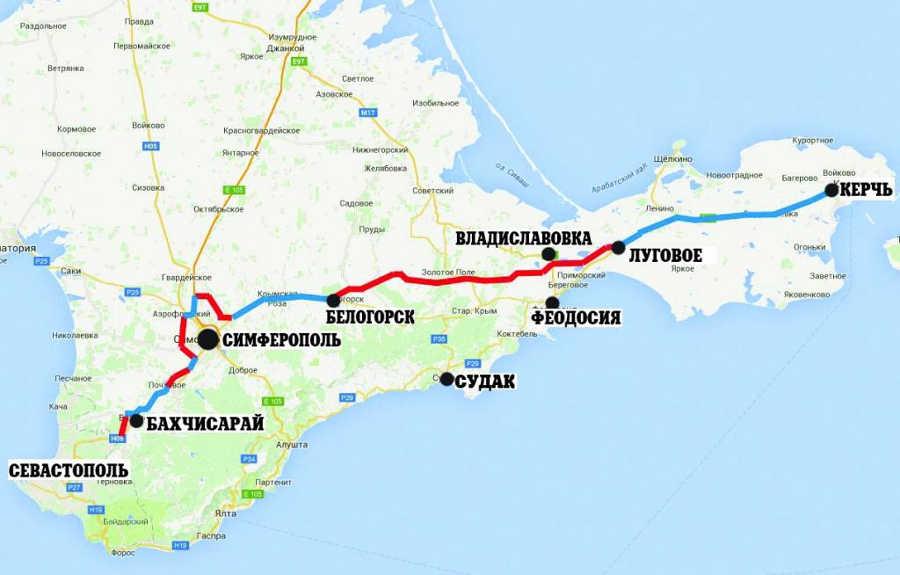 План трассы Таврида Керчь - Севастополь на карте