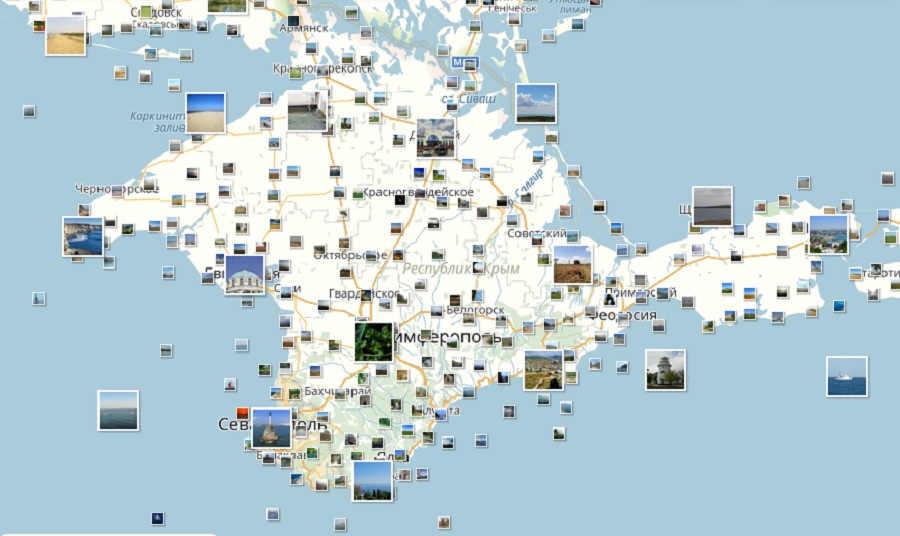 Карта Крыма с достопримечательностями